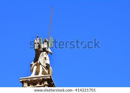 The tomb of the medieval knights in Verona, the Arche Scaligere , in the blue sky, Italy.