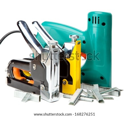 The tool - staplers electrical and manual mechanical - for repair work in the house and on furniture, and brackets