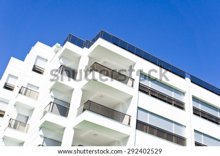 The top of a modern apartment building in Turkey - stock photo
