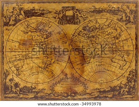 The top of an old box is decorated with a vintage map, circa 1788. See the entire map collection: http://www.shutterstock.com/sets/22217-maps.html?rid=70583 - stock photo