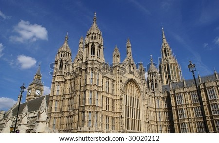 The top of The British Parliament/ Westminster & Big Ben Clock, London, England - stock photo
