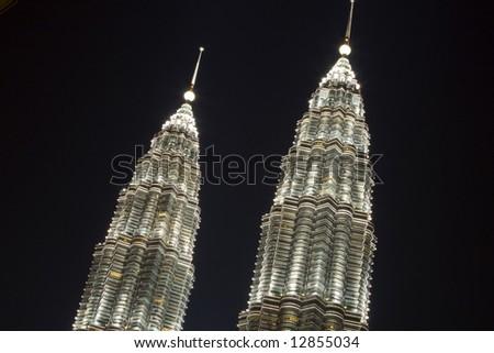 The top of the petronas towers in Kuala Lumpur Malaysia - stock photo
