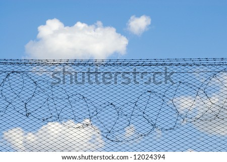 The top part of the fence protecting territory of prison