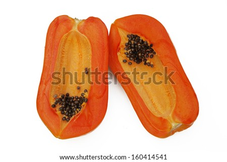 the top view isolated of the two half slice ripe papaya on the white background - stock photo