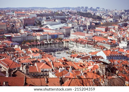 The top view of Lisbon from castle (Portugal) - stock photo