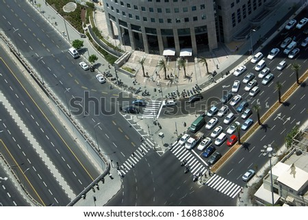 The top view on a crossroads in a city - stock photo
