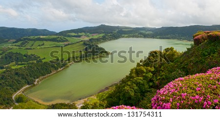 The top view on lake Furnas, Sao Miguel, Azores - stock photo