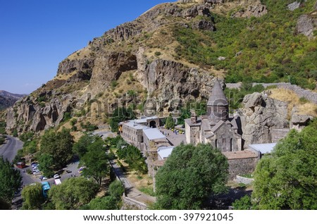 The top view on the medieval Geghard monastery complex, Armenia