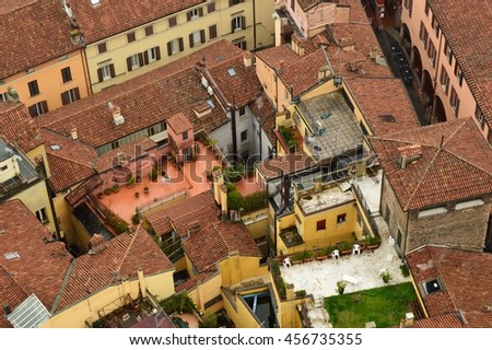 The top view on the old city, Bologna, Italy - stock photo