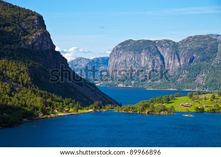 The top view on tranquil scene in Norwegian Fjord, Norway. - stock photo