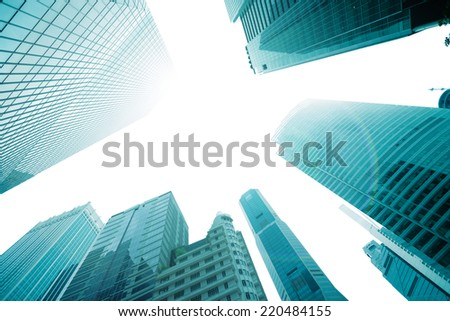The tops of skyscrapers against the sky - stock photo