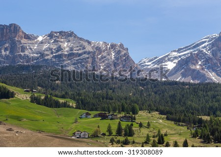 The tops of the mountains in the Dolomites Alps