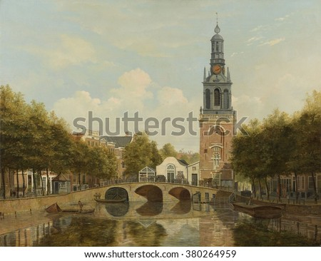 The Torensluis and the Jan Roodenpoortstoren in Amsterdam, by Hendrik Gerrit ten Cate, 1829. Dutch painting, oil on canvas. The Torensluis across the Singel one of the oldest and widest bridges in the - stock photo