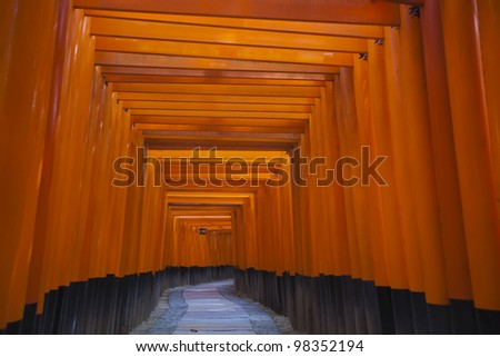 The Tori gates at Fushimi Inari Shrine in Kyoto, Japan.
