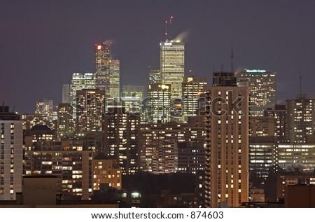 The Toronto skyline at night. - stock photo