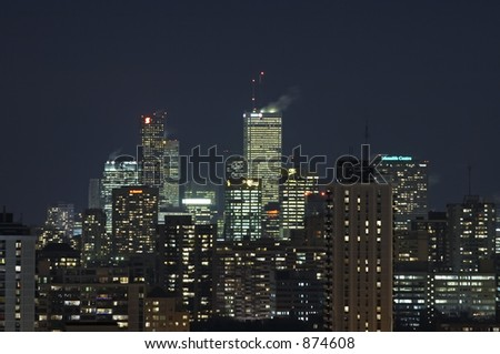 The Toronto skyline at night.