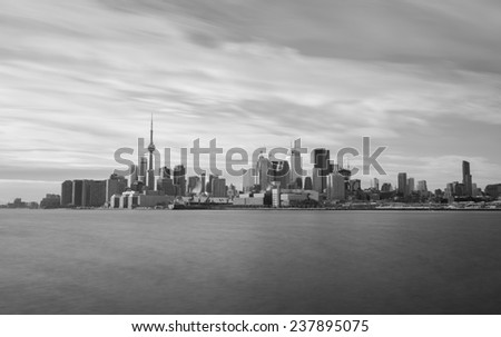 The Toronto skyline from the East in black and white