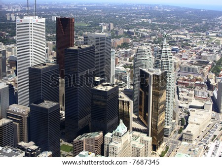 The Toronto Skyscrapers in Canada taken from the top of the CN tower - stock photo