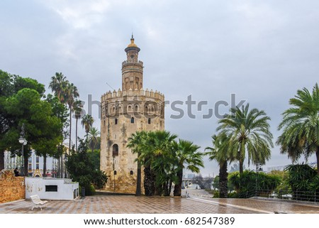 The Torre del Oro (Gold Tower), Seville, Andalusia, Spain. It was observation tower