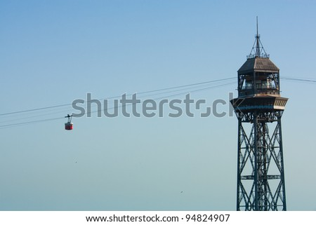 The Torre Jaume I, funicular in Barcelona - stock photo