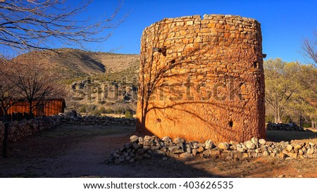 The Torreon is an historic rock fort where settlers hid during indian raids in Lincoln, New Mexico in the late 1800's - stock photo