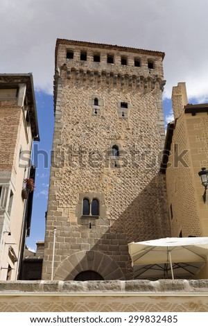 The Torreon the Lozoya (Lozoya Tower) is a defensive tower built in the early fourteenth century in Segovia, Spain  - stock photo