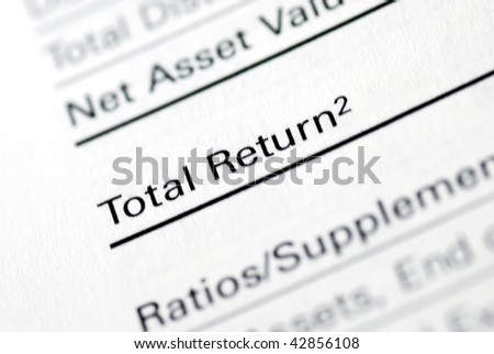 The Total Return section from a mutual fund report - stock photo