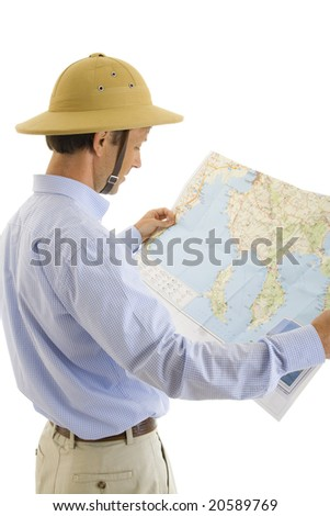 The tourist with a map isolated on a white background - stock photo