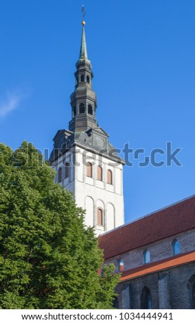 The tower and spire of St. Nicholas Church, former Lutheran Church, built in the 13th century in Tallinn, Estonia