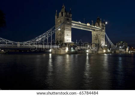 The Tower Bridge in London at the night