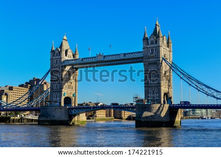 The Tower Bridge in London on a bright sunny day - stock photo