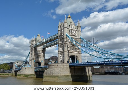 The Tower Bridge spanning over River Thames in London, UK. - stock photo