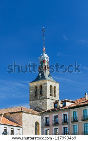 The tower of an ancient cathedral that is part of an ancient city in Spain - stock photo