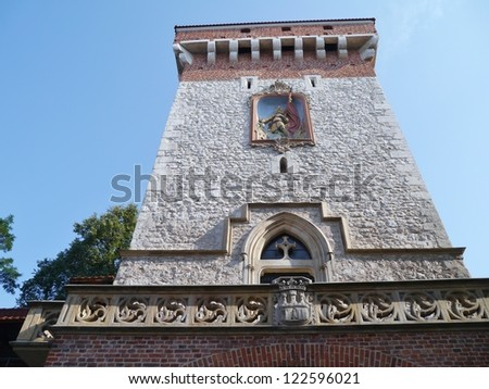 The tower  of defense  of the Florian gate in Krakow in Poland - stock photo