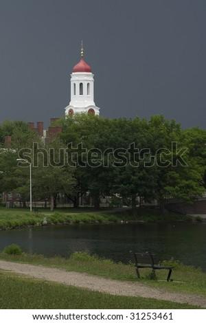 The tower of Harvard University's Dunster House, in Cambridge, Massachusetts - stock photo