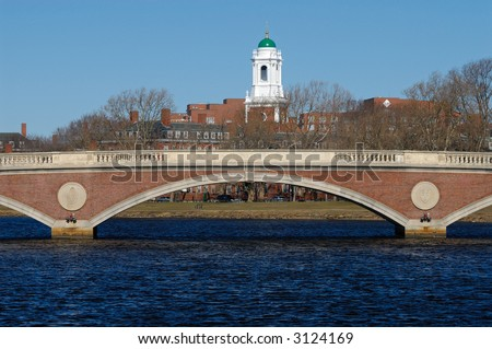 The tower of Harvard University's Lowell House over John W. Weeks Bridge, in Cambridge, Massachusetts. - stock photo
