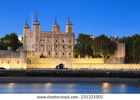 The Tower of London at night, United Kingdom, uk - stock photo