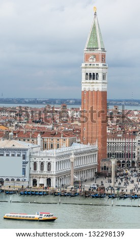 The Tower of San Marco and the Doge's Palace (view from the bell tower of the Saint Giorgio Maggiore Church) - Venice, Italy