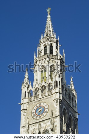 The tower of the historic town hall in Munich in Bavaria