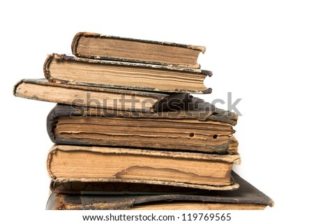 The tower of the old books of the 19th century on a white background