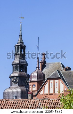 The tower of the old church of Saint Maria and and a part of some others buildings in the medieval town Ystad in South Sweden which was a Danish town during the middle ages.