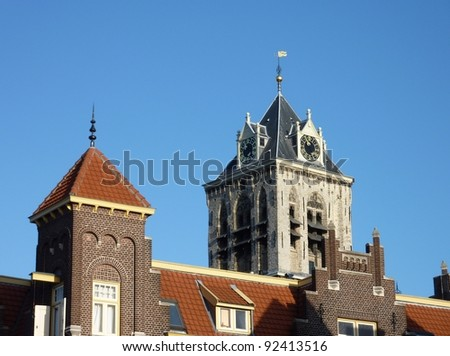 The tower of the old city hall in Delft in the Netherlands