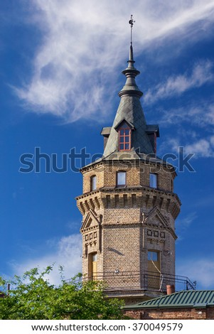 The tower of the oldest building of Kiev Polytechnic Institute, Ukraine  - stock photo