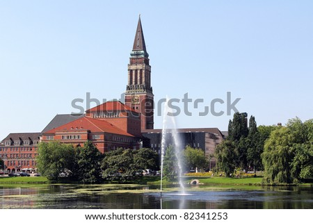 the tower of the town hall of Kiel, Germany - stock photo