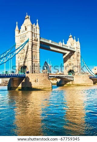 The TowerBridge in London on a bright sunny day - stock photo
