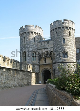 The towers and walls of  Windsor Castle in London, England - stock photo
