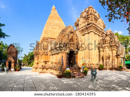 The towers of Po Nagar near Nha Trang in Vietnam - stock photo