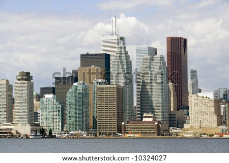 The towers of Toronto's financial district seen from Lake Ontario. - stock photo