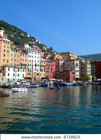 the town and docks of Portofino in Italy