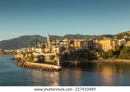 The town, citadel and harbour entrance at Bastia in northern Corsica - stock photo